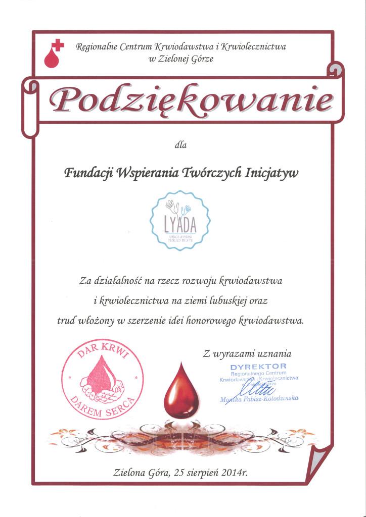 Podziekowanie RCKiK 2014-08-25 dla Fundacji LYADA